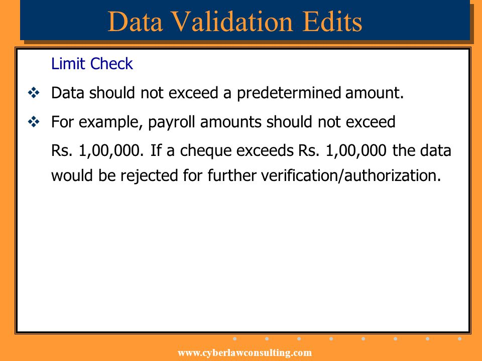 Data Validation Edits Limit Check