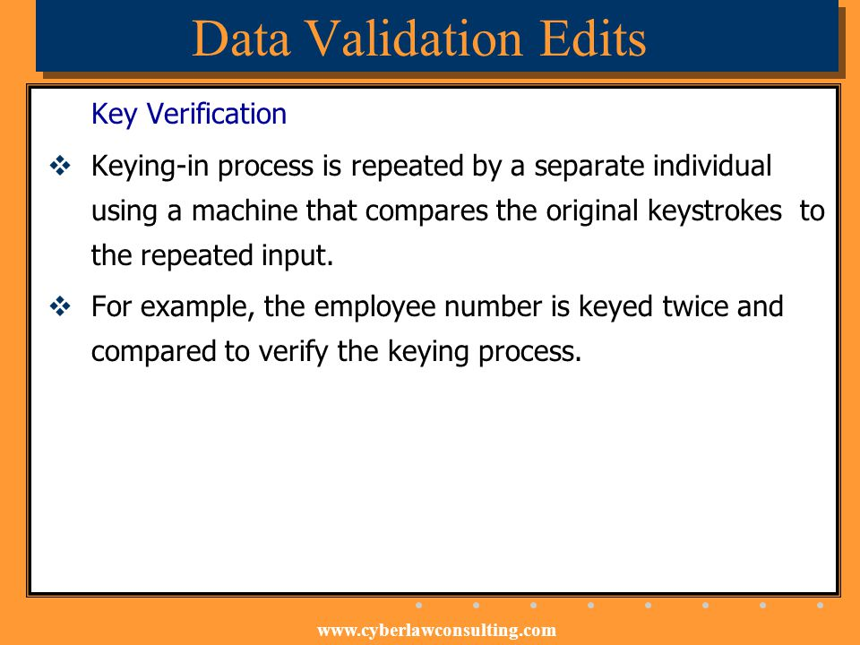 Data Validation Edits Key Verification