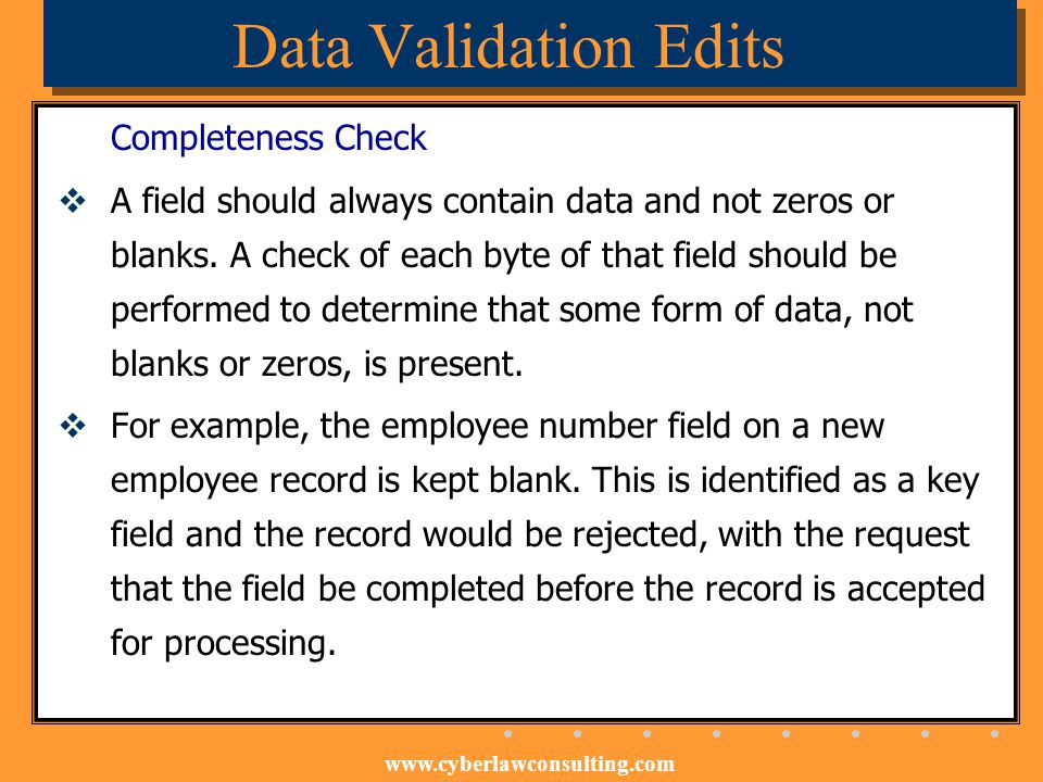 Data Validation Edits Completeness Check