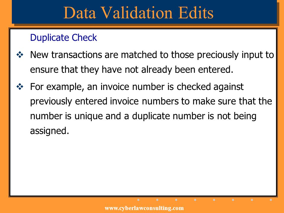 Data Validation Edits Duplicate Check