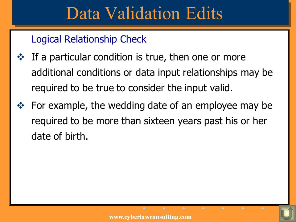 Data Validation Edits Logical Relationship Check
