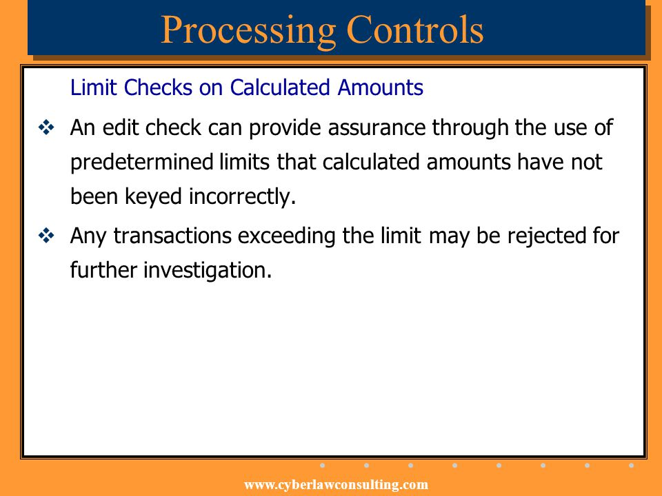 Processing Controls Limit Checks on Calculated Amounts