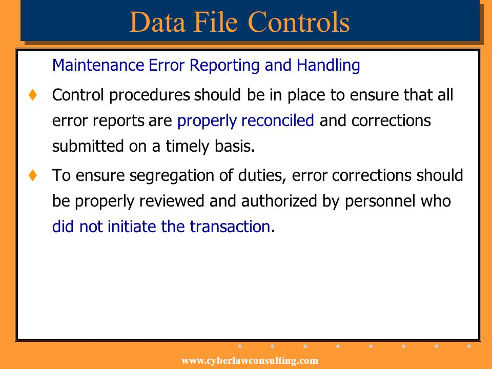 Data File Controls Maintenance Error Reporting and Handling