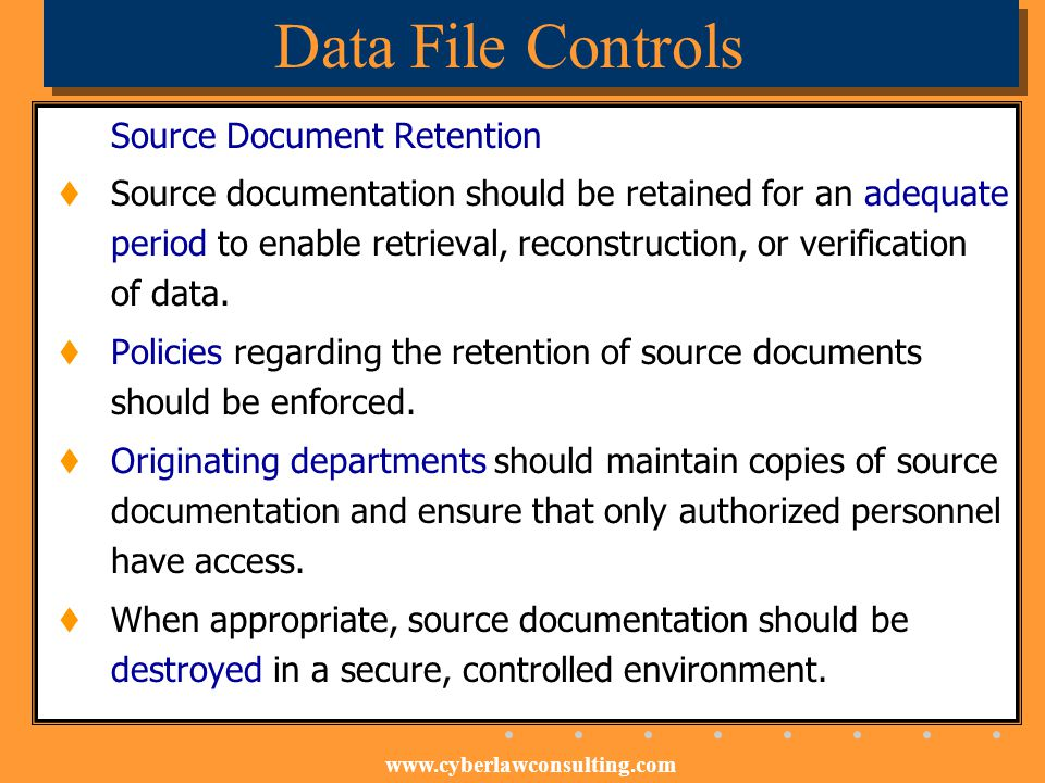 Data File Controls Source Document Retention