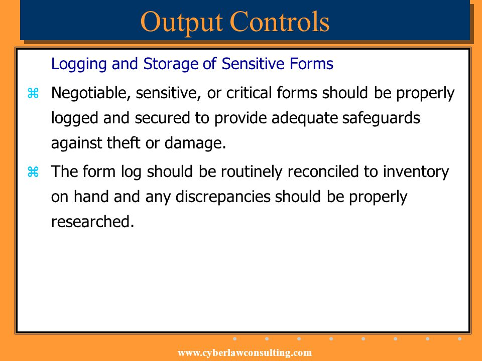 Output Controls Logging and Storage of Sensitive Forms
