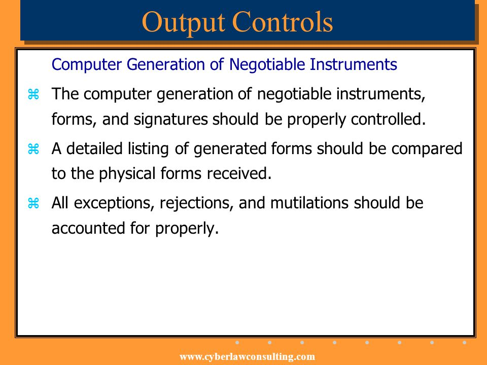 Output Controls Computer Generation of Negotiable Instruments
