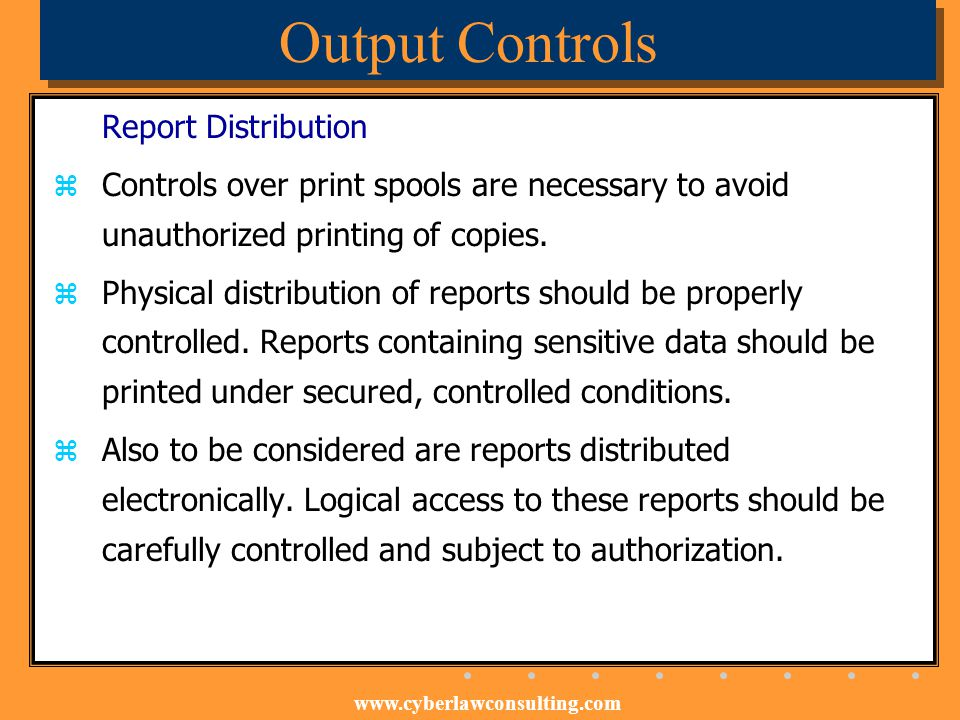 Output Controls Report Distribution