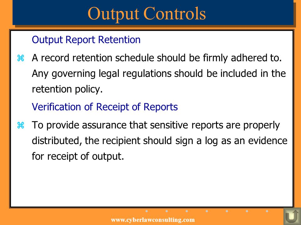 Output Controls Output Report Retention