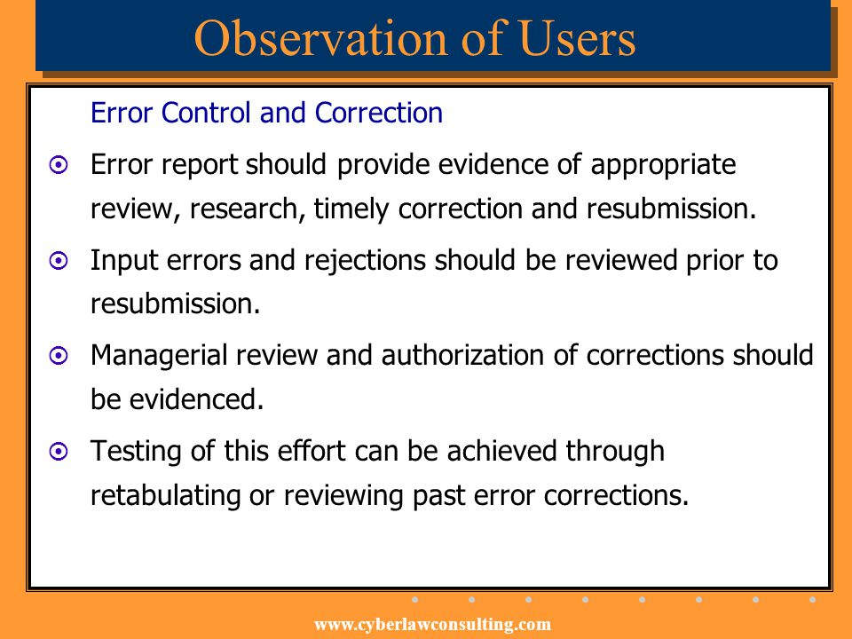 Observation of Users Error Control and Correction