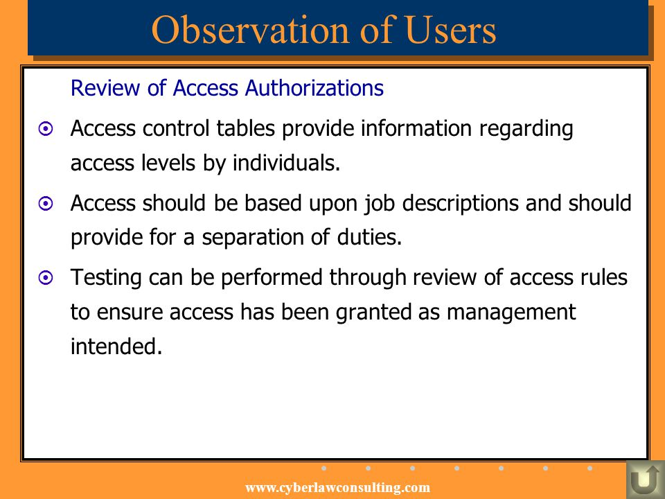 Observation of Users Review of Access Authorizations