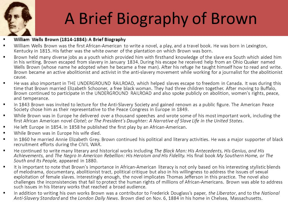 A Brief Biography of Brown