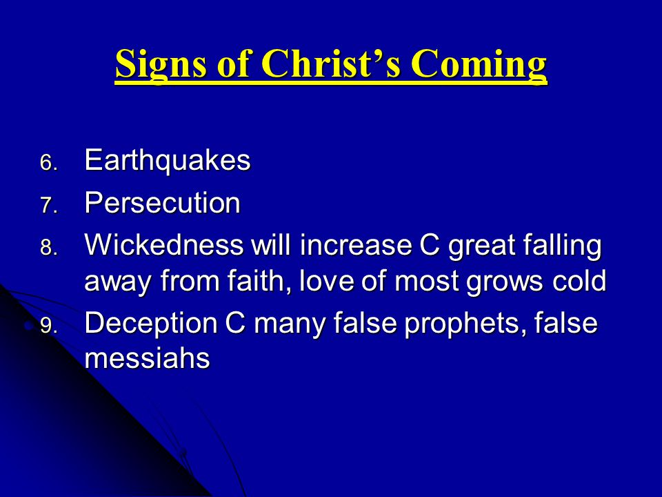 Signs of Christ's Coming