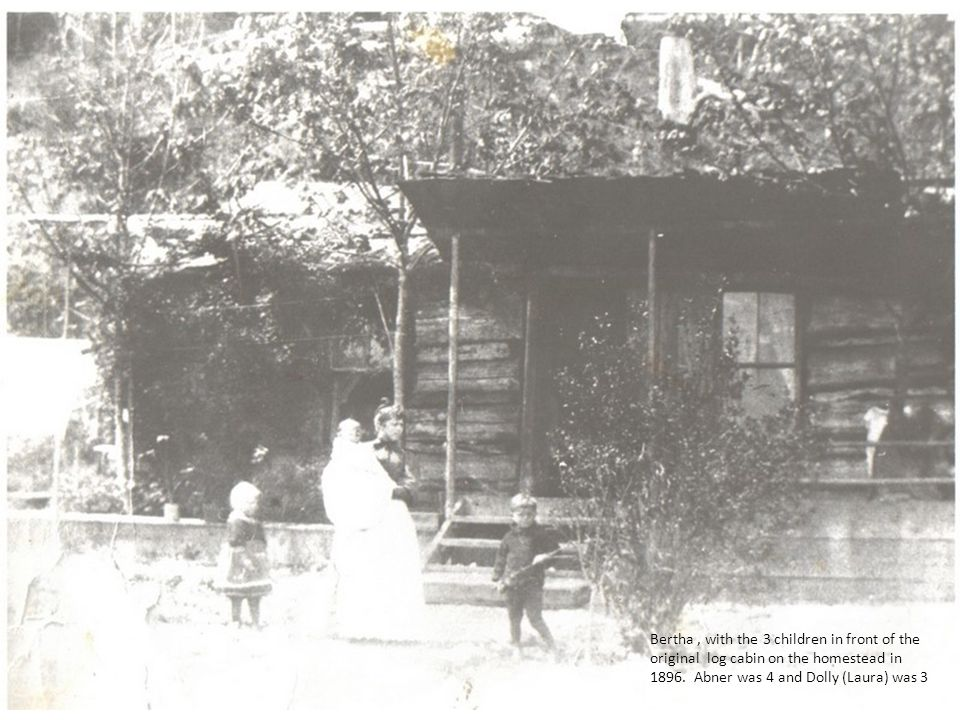 Bertha , with the 3 children in front of the original log cabin on the homestead in 1896.