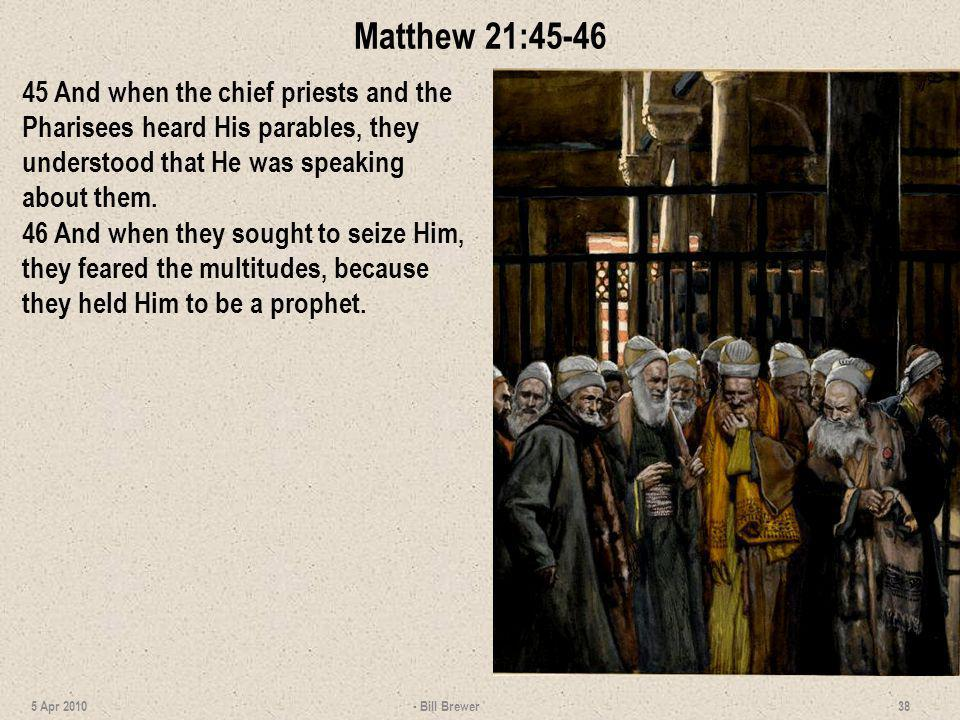 Matthew 21:45-46 45 And when the chief priests and the Pharisees heard His parables, they understood that He was speaking about them.