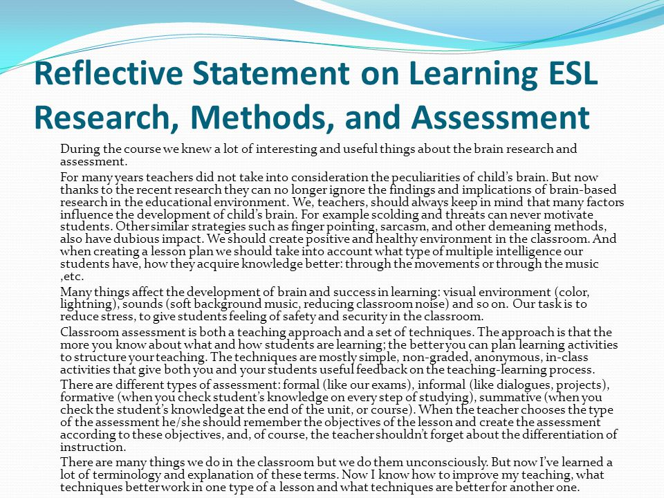 Reflective Statement on Learning ESL Research, Methods, and Assessment