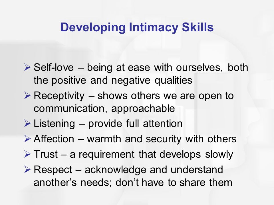 Developing Intimacy Skills