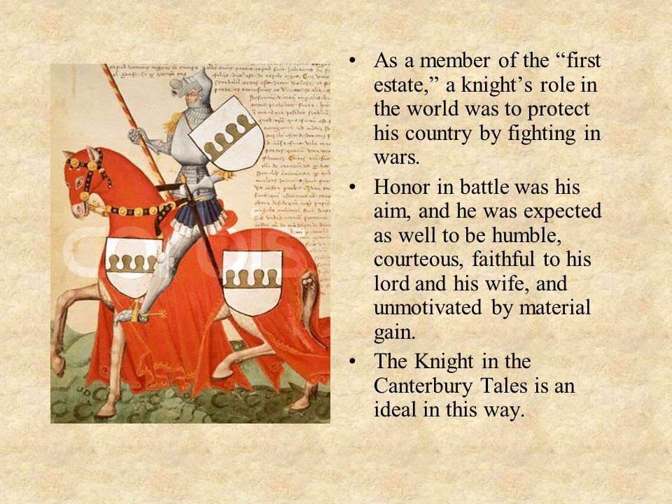 As a member of the first estate, a knight's role in the world was to protect his country by fighting in wars.