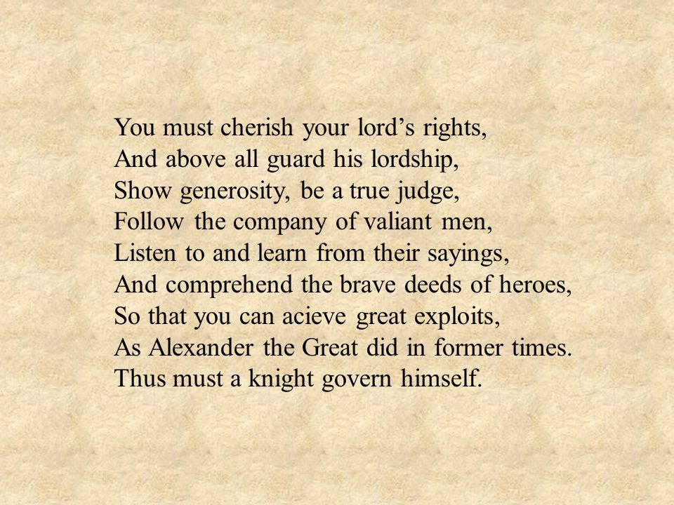 You must cherish your lord's rights,