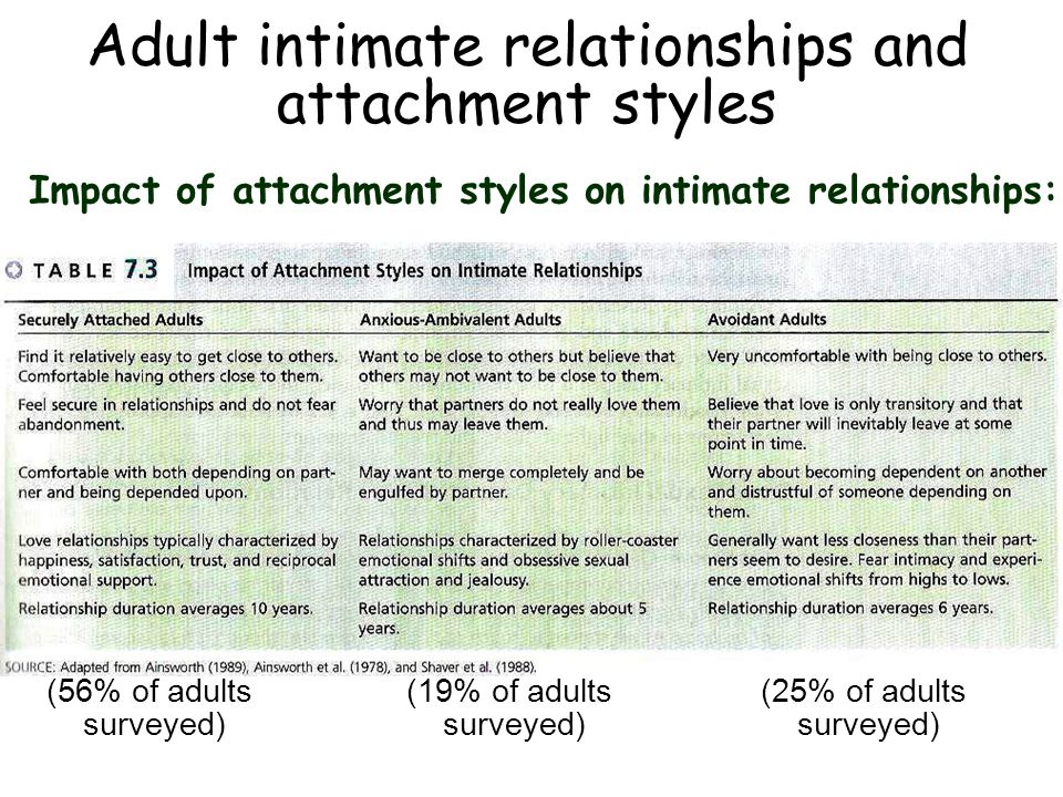 Adult intimate relationships and attachment styles