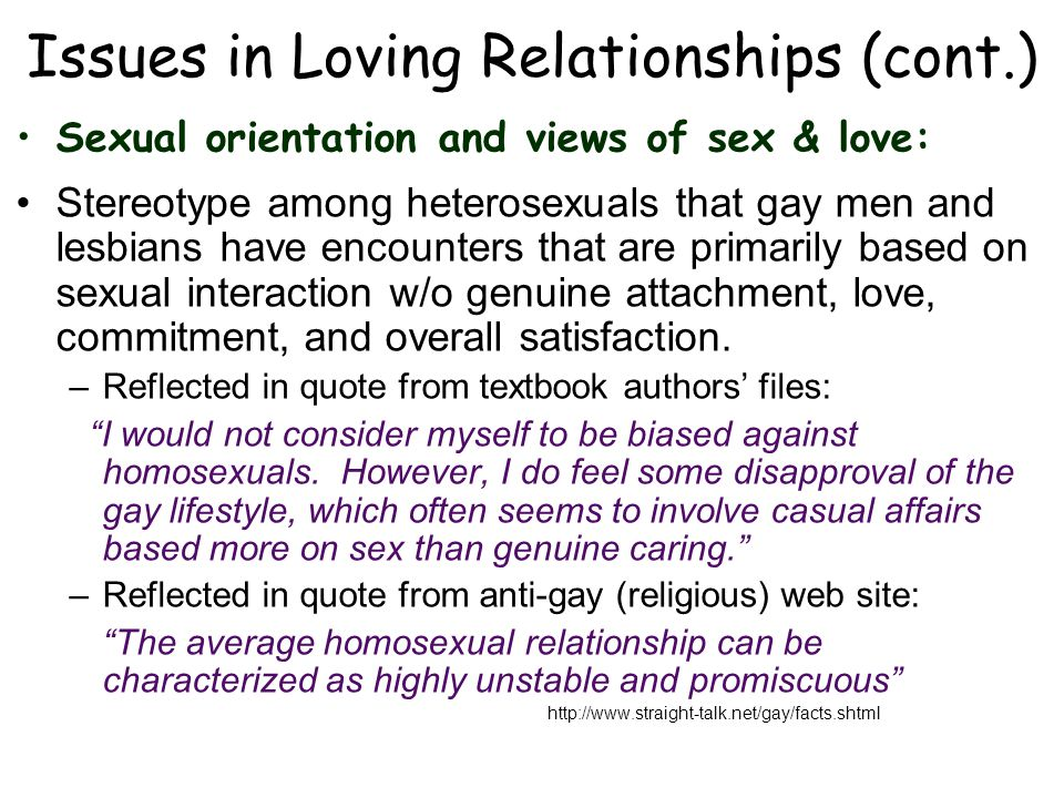 Issues in Loving Relationships (cont.)