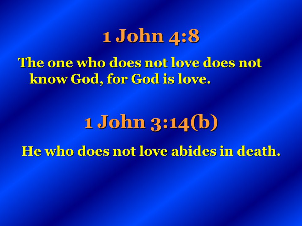 He who does not love abides in death.