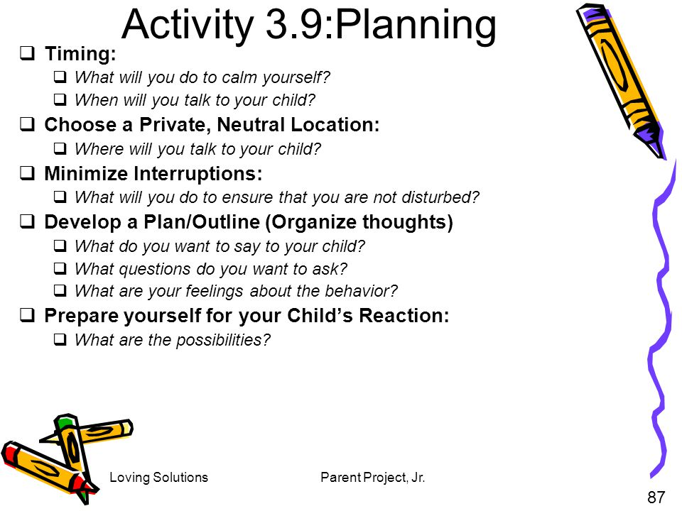 Activity 3.9:Planning Timing: Choose a Private, Neutral Location: