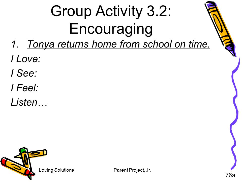 Group Activity 3.2: Encouraging