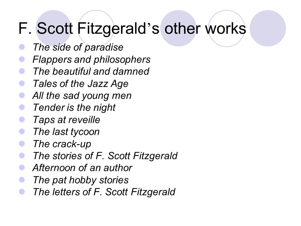 F. Scott Fitzgerald's other works
