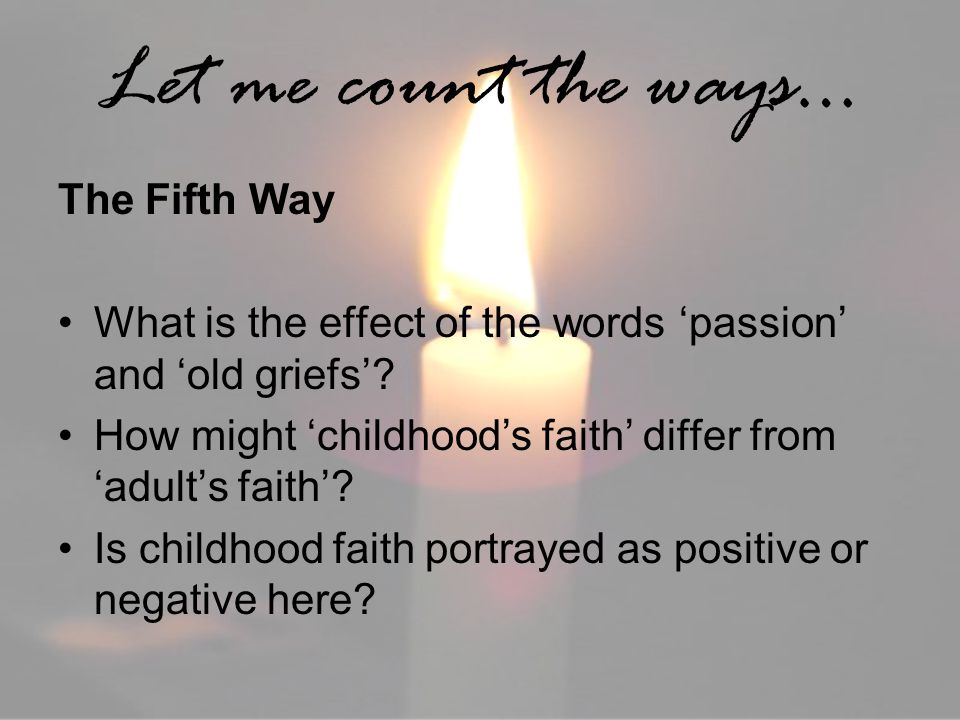 Let me count the ways… The Fifth Way