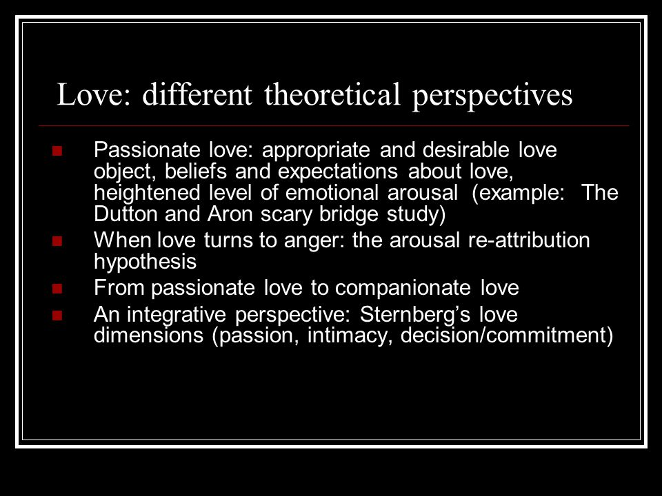 Love: different theoretical perspectives