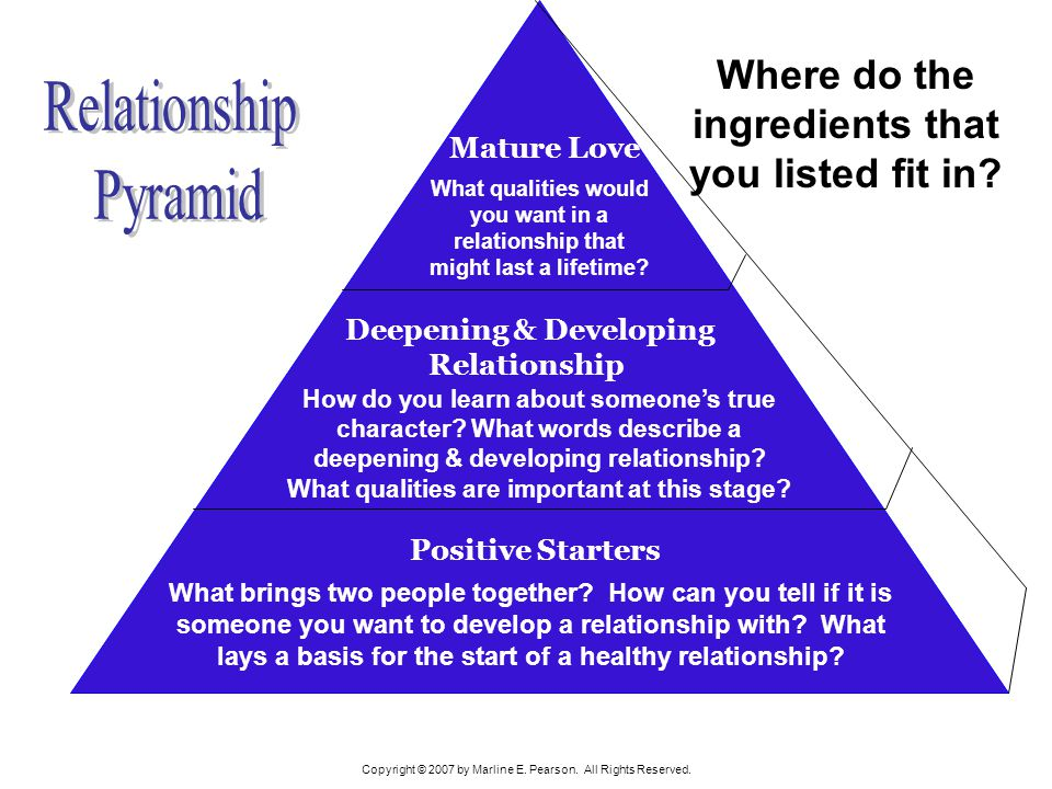 Relationship Pyramid Where do the ingredients that you listed fit in