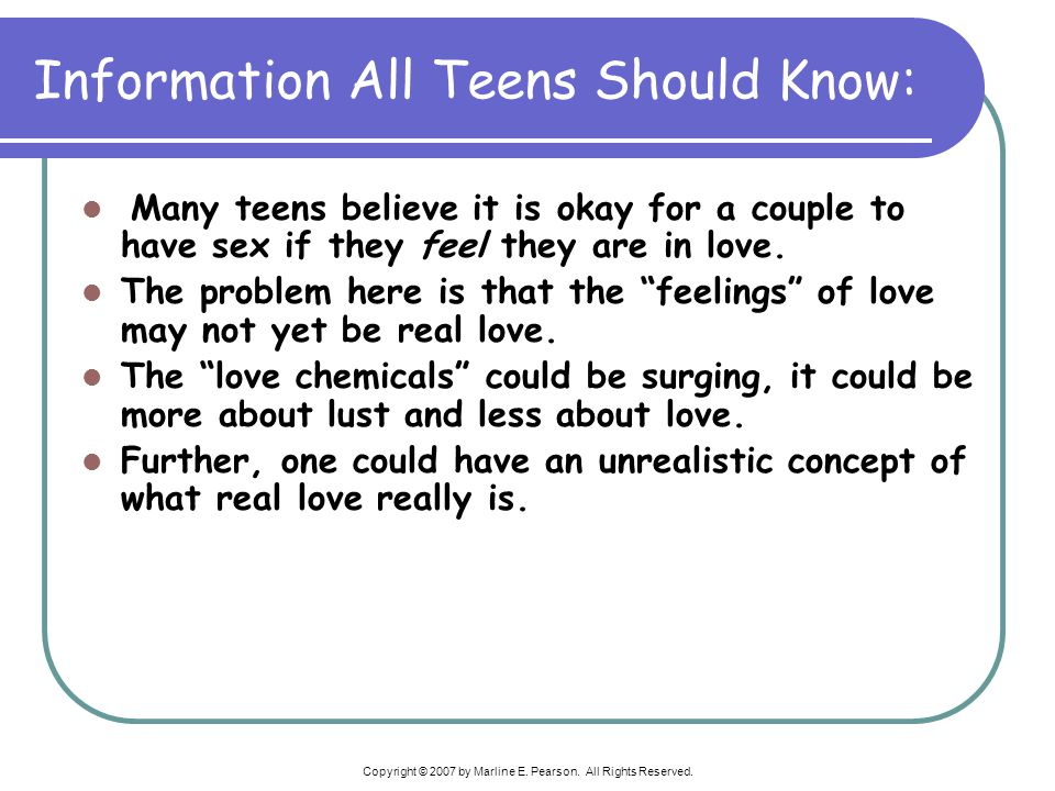 Information All Teens Should Know: