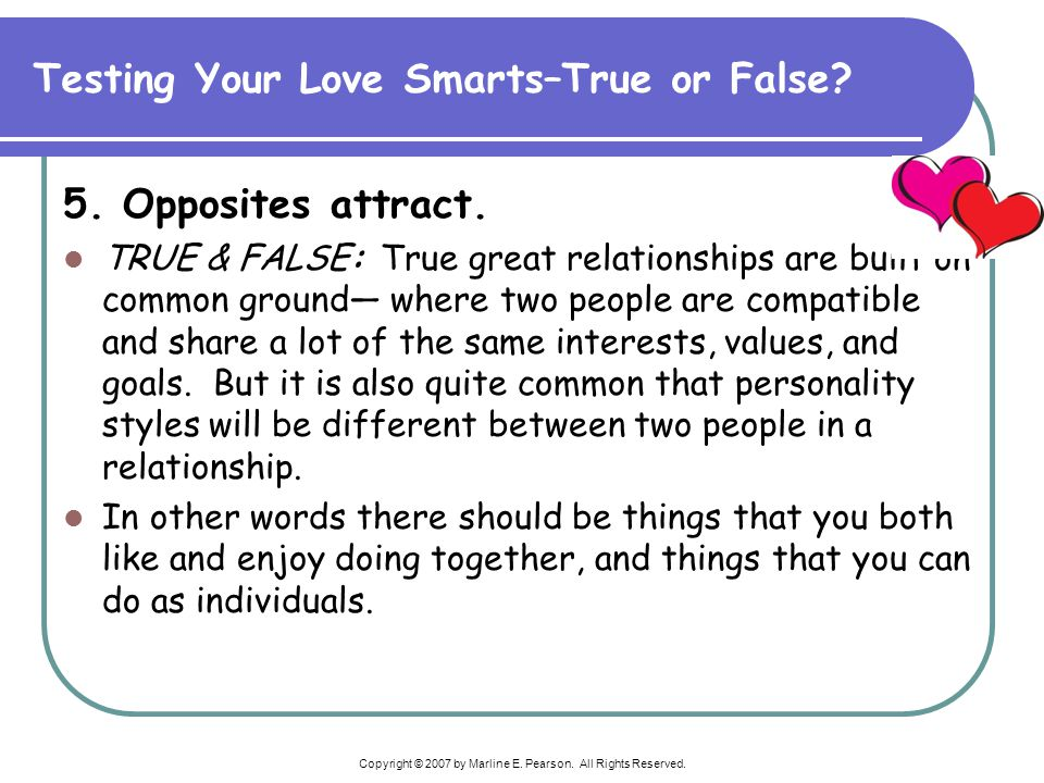 Testing Your Love Smarts–True or False