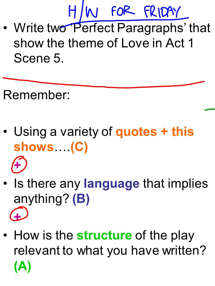 Write two 'Perfect Paragraphs' that show the theme of Love in Act 1 Scene 5.