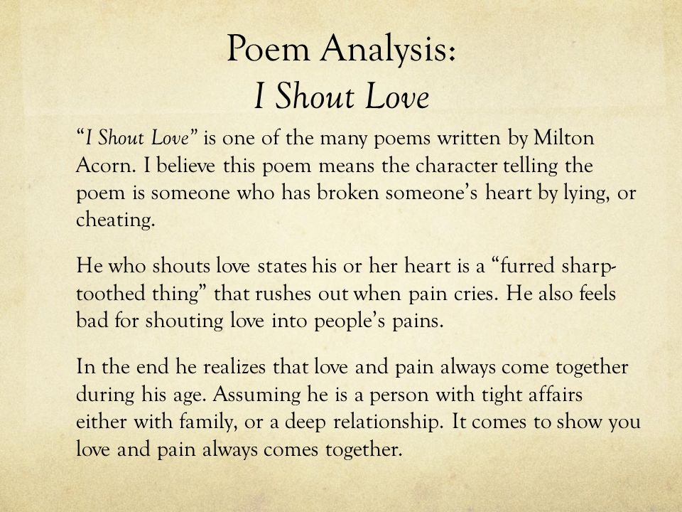 Poem Analysis: I Shout Love
