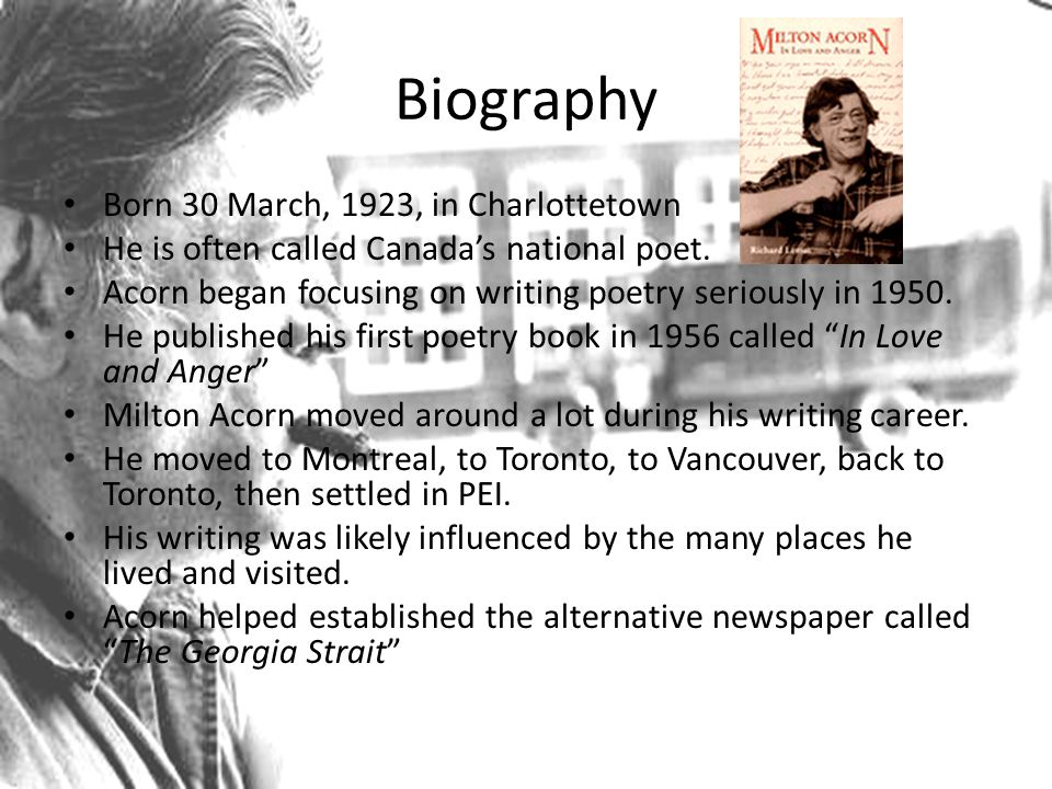 Biography Born 30 March, 1923, in Charlottetown