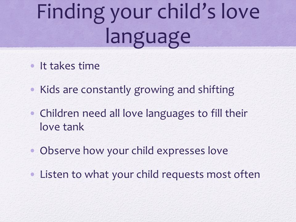 Finding Your Childs Love Language