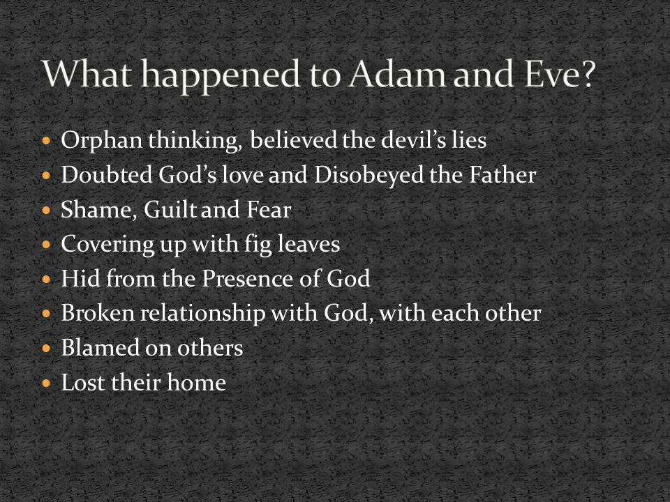 What happened to Adam and Eve