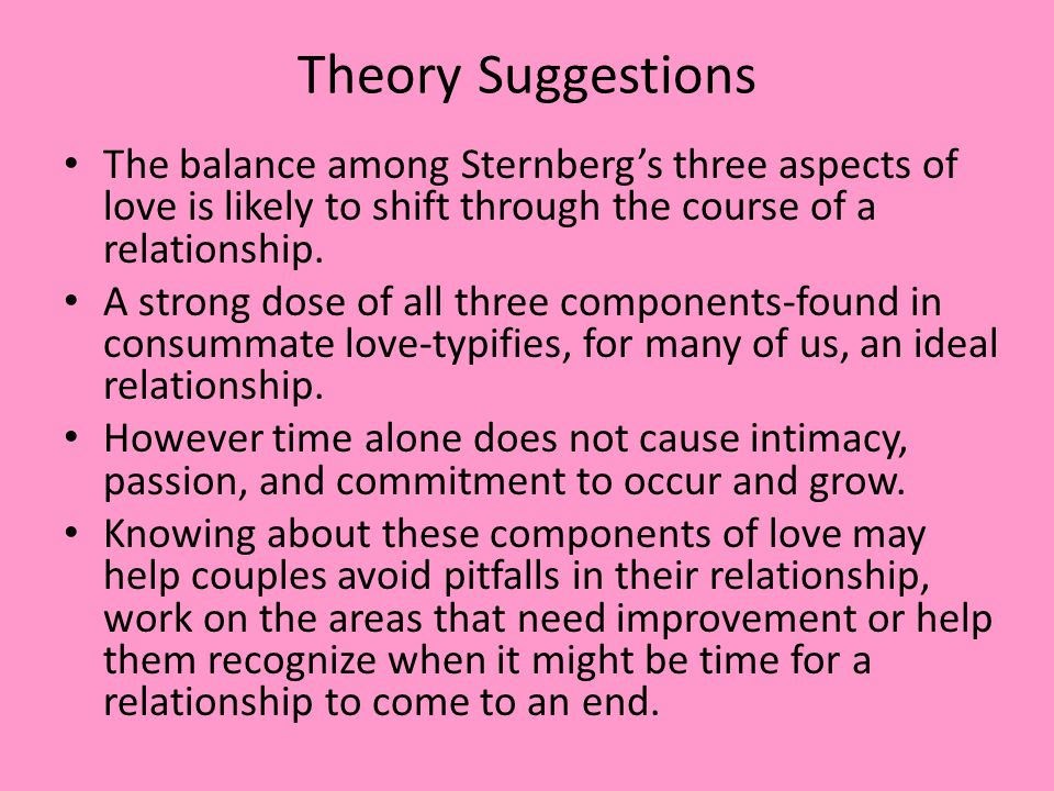 Theory Suggestions The balance among Sternberg's three aspects of love is likely to shift through the course of a relationship.