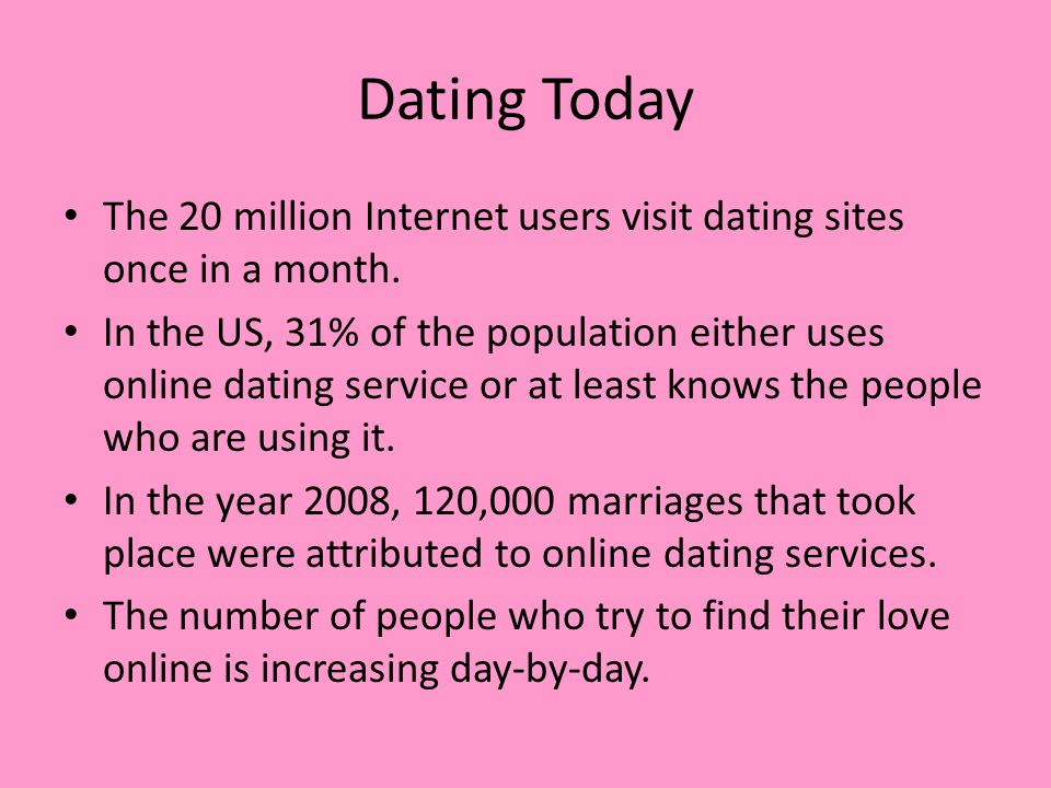 Dating Today The 20 million Internet users visit dating sites once in a month.