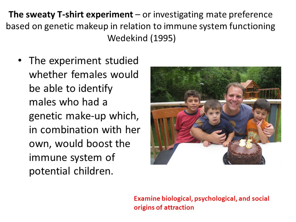 The sweaty T-shirt experiment – or investigating mate preference based on genetic makeup in relation to immune system functioning Wedekind (1995)