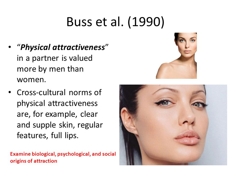 Buss et al. (1990) Physical attractiveness in a partner is valued more by men than women.