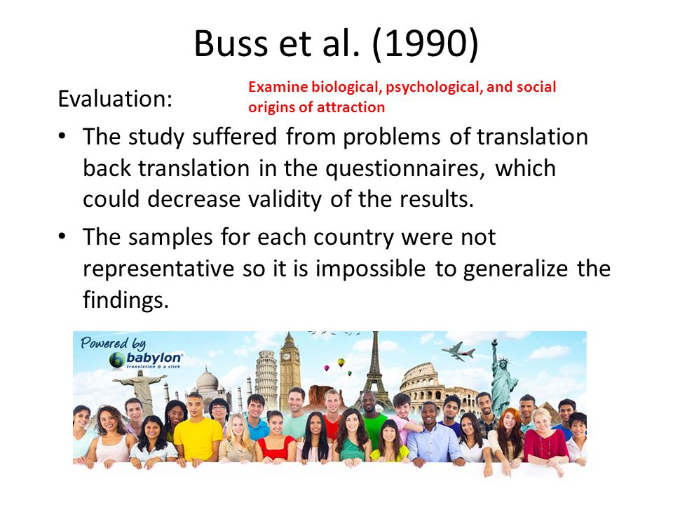 Buss et al. (1990) Evaluation: