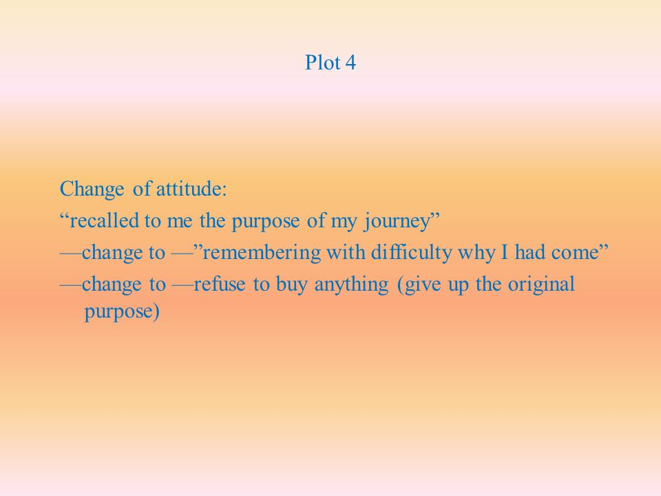 Plot 4 Change of attitude: recalled to me the purpose of my journey —change to — remembering with difficulty why I had come