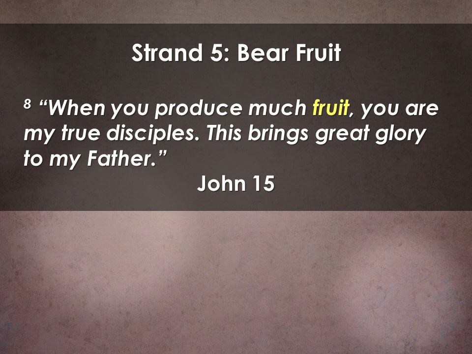 Strand 5: Bear Fruit 8 When you produce much fruit, you are my true disciples. This brings great glory to my Father.