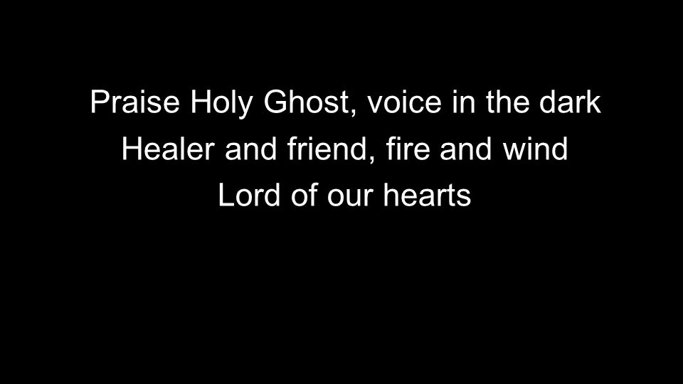 Praise Holy Ghost, voice in the dark Healer and friend, fire and wind