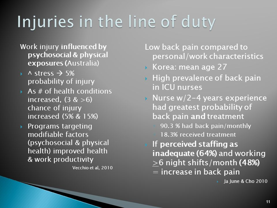 Injuries in the line of duty