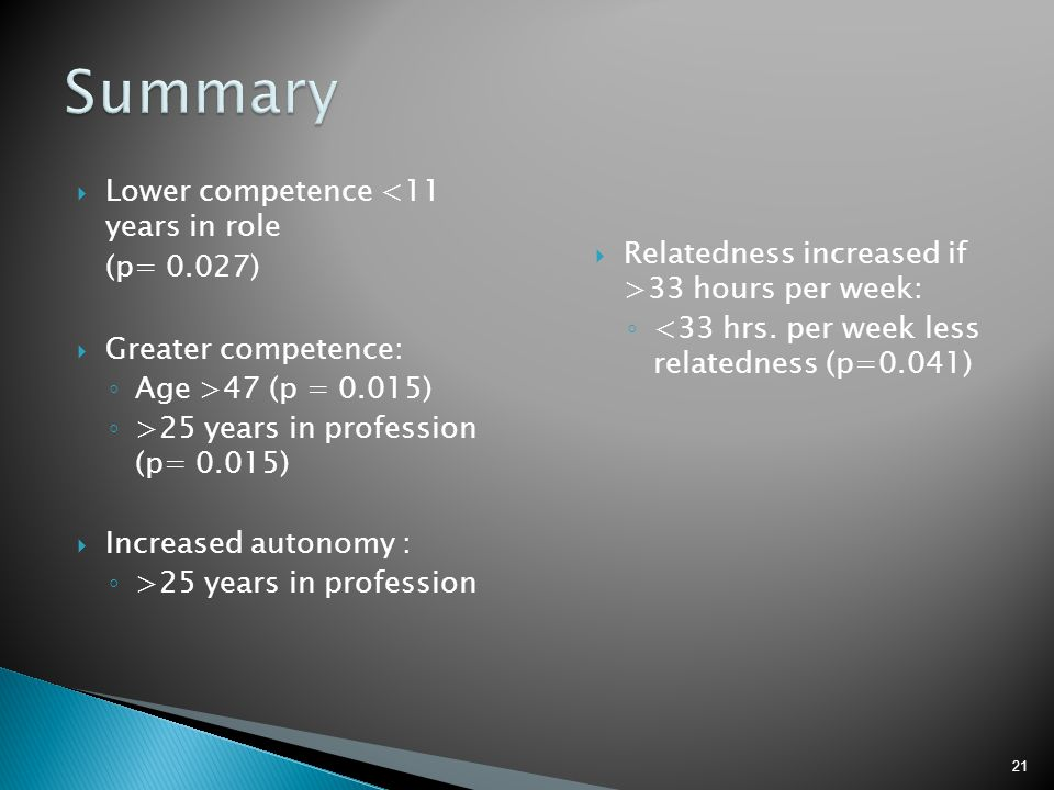 Summary Lower competence <11 years in role
