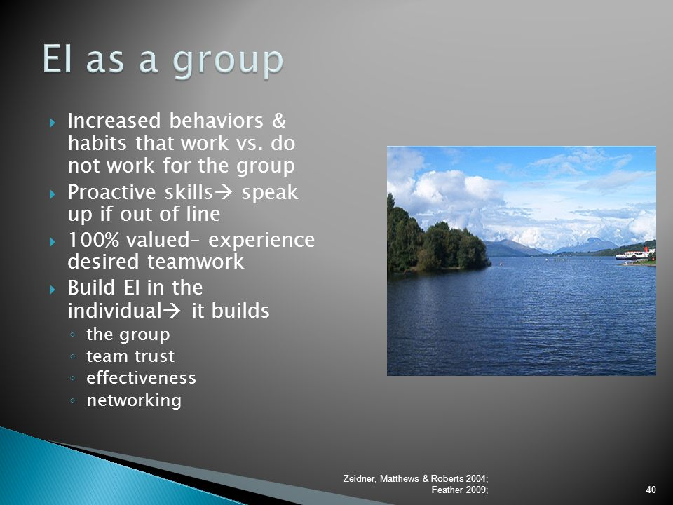 EI as a group Increased behaviors & habits that work vs. do not work for the group. Proactive skills speak up if out of line.