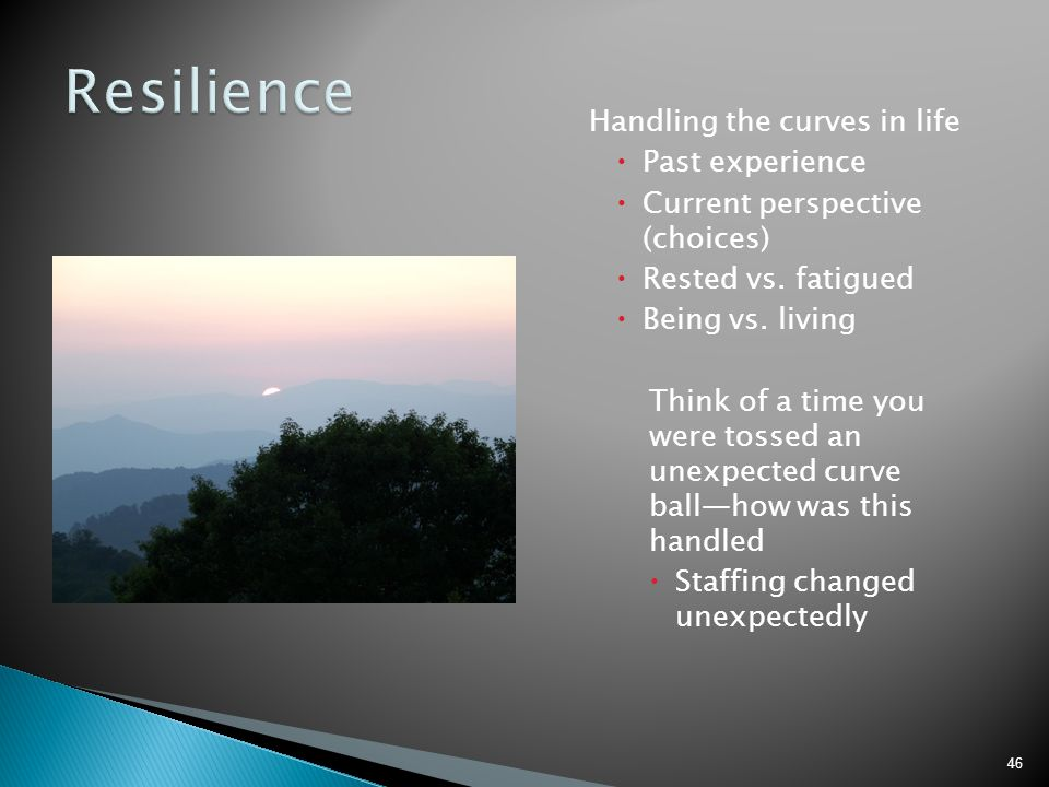 Resilience Handling the curves in life Past experience